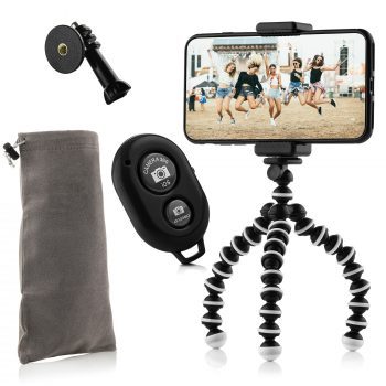 MOJOGEAR MG-19 flexibel mini statief KIT bluetooth shutter GoPro mount opbergzakje hoofdfoto