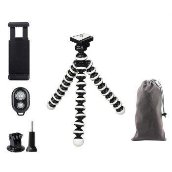 MOJOGEAR MG-19 flexibel mini statief KIT bluetooth shutter GoPro mount opbergzakje inhoud