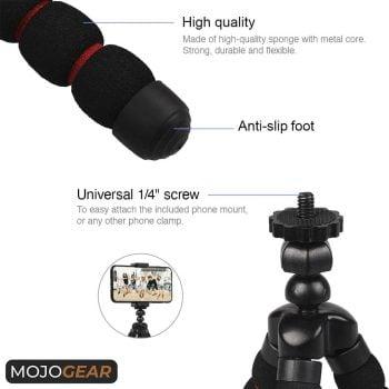MOJOGEAR MG-06-RED flexibel mini-statief met schuimrubber poten zwart-rood details