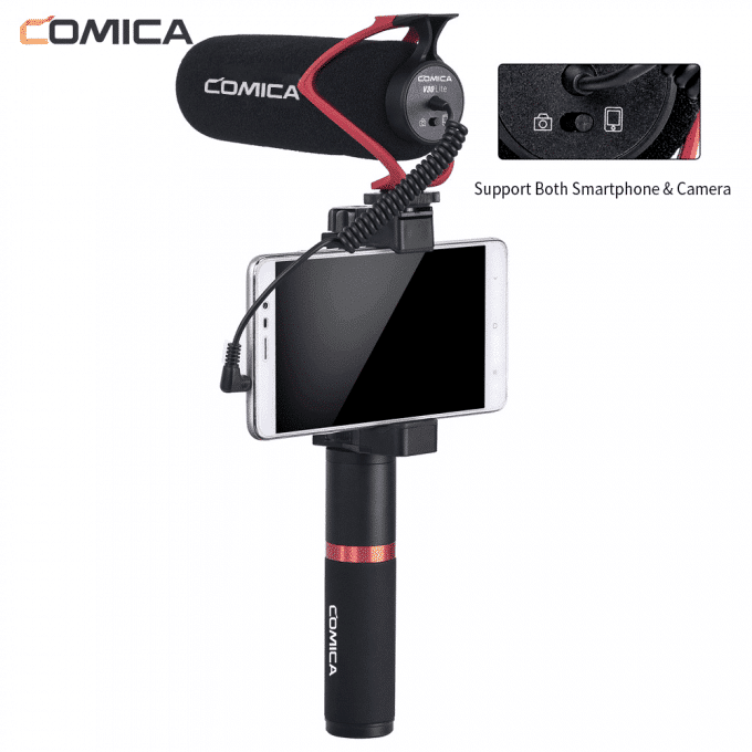 Comica CVM-V30 LITE richtmicrofoon voor camera en smartphone op handvat