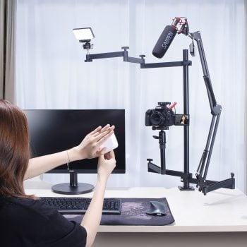 Ulanzi UURig desktop standaard met 3 armen in gebruik 1